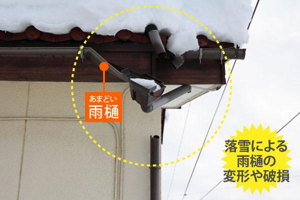 雪で破損した雨樋
