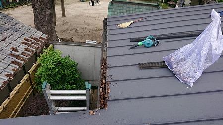 大東市 この時期、毎年恒例の樋の落ち葉掃除です!