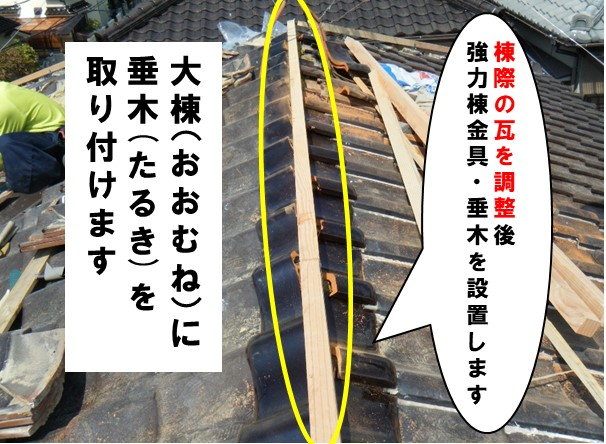 棟際の瓦調整後、金具と垂木を設置