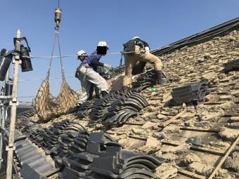 茨木市 いぶし瓦屋根解体工事