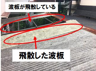 飛散した波板が屋根の上に残っていた