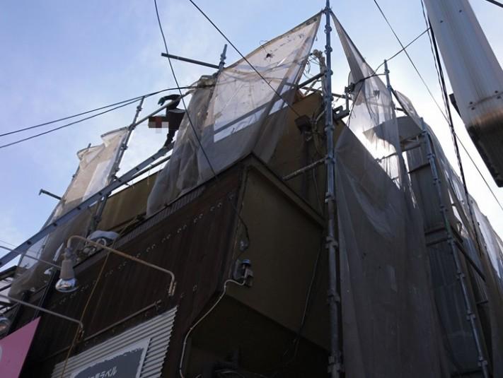 門真市 葺き替え工事の足場仮設