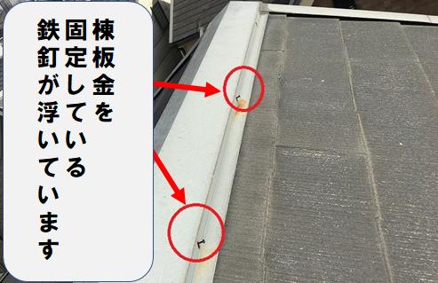 守口市 棟板金を固定している釘の浮き