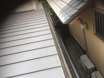 樋の中に落ち葉除けネットを設置