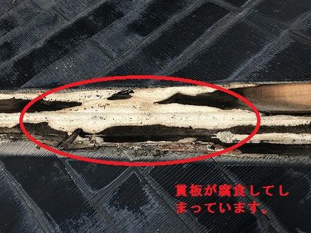 貫板が腐食しています。