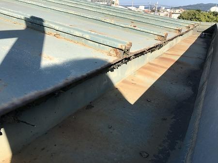 軒先の水切り部分が錆びて朽ちています。