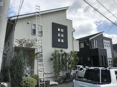 ハシゴをセットして屋根に上ります。