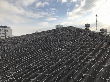 屋根面には安全ネットが張られています。