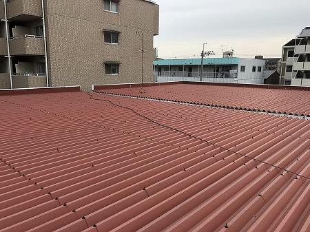 屋根は折板鋼板屋根で、2棟連棟になっています。