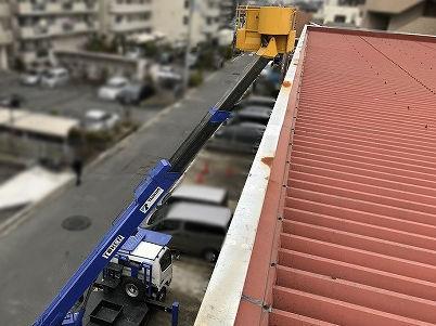 テナント折半屋根 高所作業車で点検