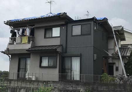 屋根にブルーシートはり完了です。