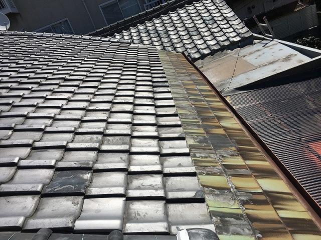 寝屋川市 一文字銅板葺をガルバリウム鋼板製の「はやぶき」に葺替しました。