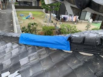 下屋根の隅棟にシートが