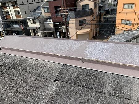 棟板金の釘が浮いています。