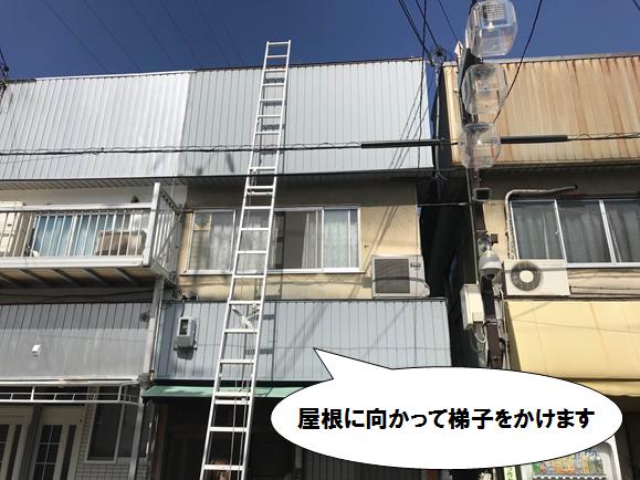 門真市 屋根にはしごを掛けます
