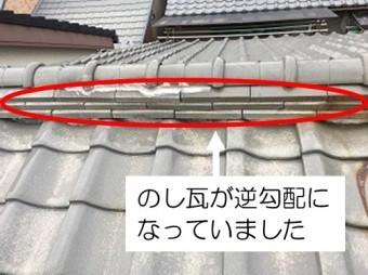 のし瓦の逆勾配