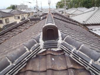 枚方市 棟瓦工事前の写真