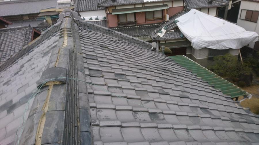 茨木市災害にあった入母屋屋根の補修工事