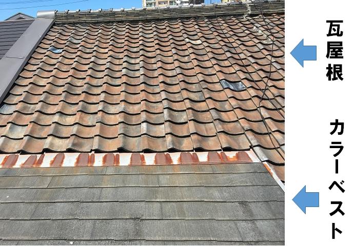 瓦屋根とカラーベスト