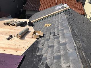 塗装されている屋根だけ、コンパネ貼り