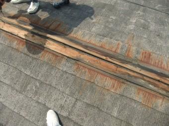 棟からかなり雨水が回っており、貫板が劣化しています。