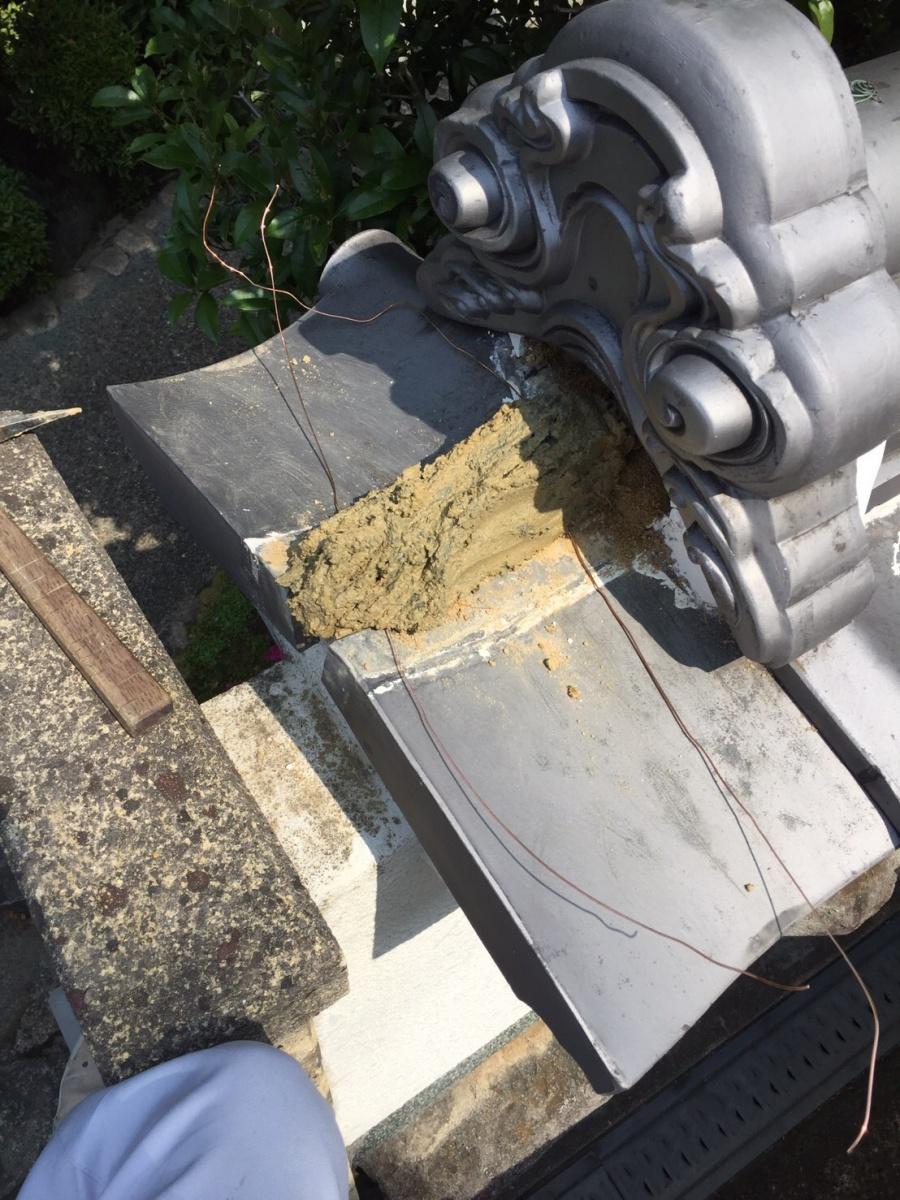 巴瓦 屋根土 緊結銅線