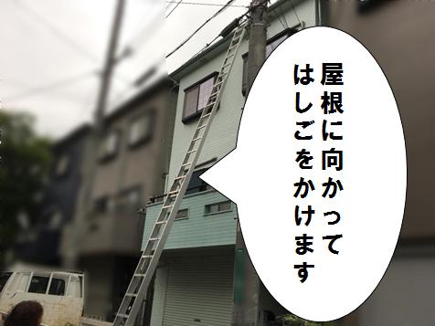 高槻市 屋根に梯子をかける