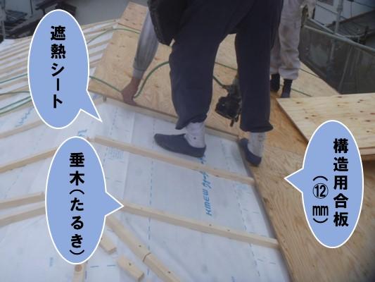 遮熱シート、垂木、構造用合板