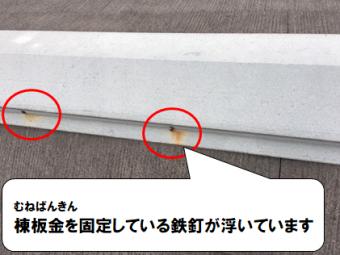 守口市 棟板金を固定している鉄釘が浮いています