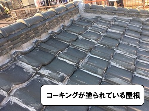 コーキングが塗られている屋根