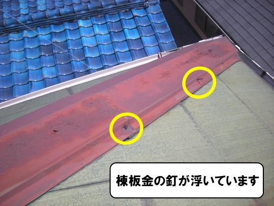 棟板金の釘が浮いています