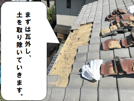 茨木市 瓦を解体し土を取り除きます