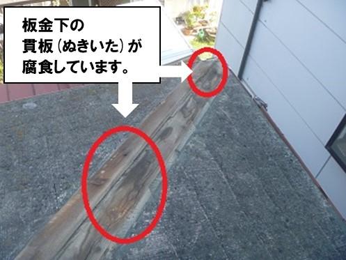 板金下の貫板が腐食