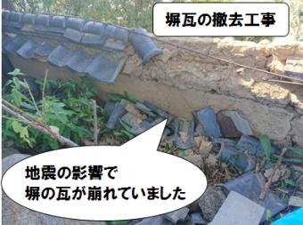 寝屋川市 塀瓦の撤去処分工事